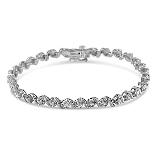 Sterling Silver Diamond S-Link Tennis Bracelet