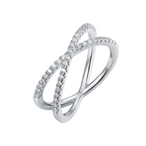 PAVOI Rhodium-Plated CZ Crisscross X Ring