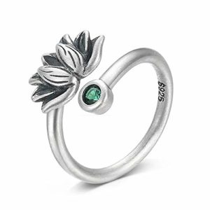 BALMORA Sterling Silver Lotus Adjustable Band Ring