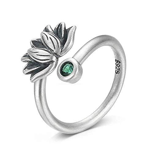 BALMORA Sterling Silver Lotus Adjustable Band Ring