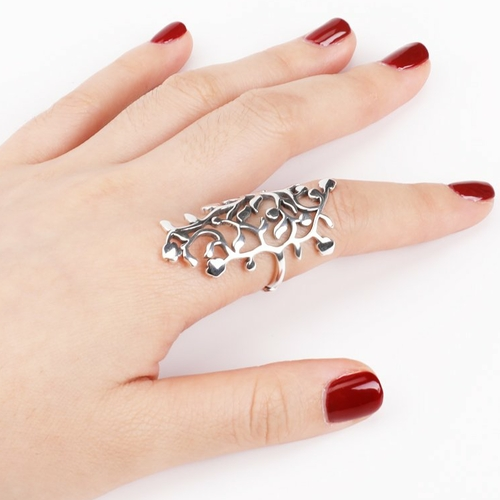 womens BALMORA Sterling Silver Hollow-Out Adjustable Finger Ring