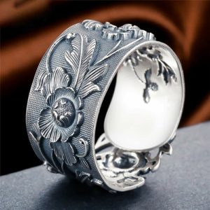 BALMORA Sterling Silver Flower Adjustable Ring