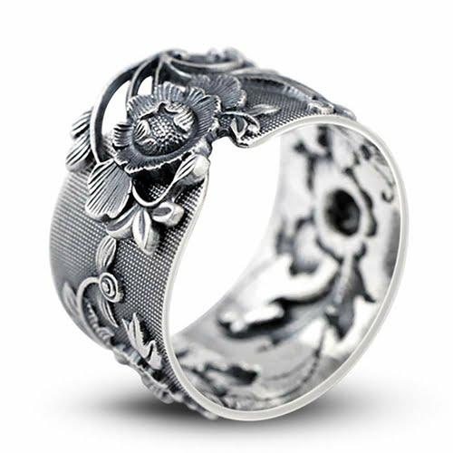 BALMORA Sterling Silver Flower Adjustable Ring