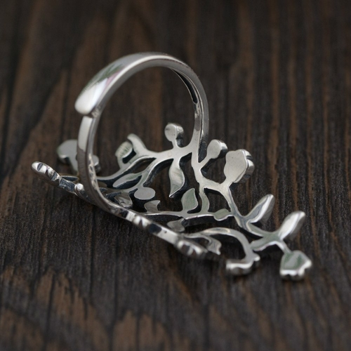 BALMORA Sterling Silver Hollow-Out Adjustable Finger Ring back