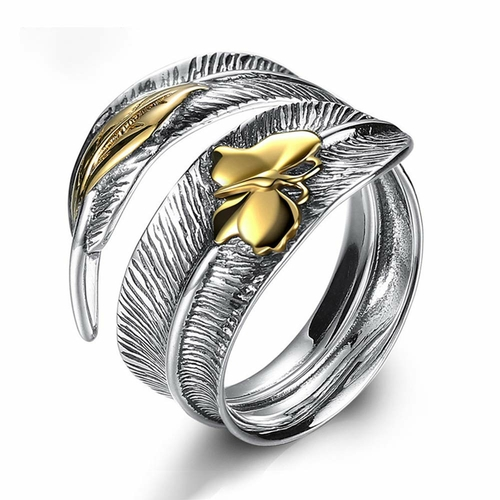 BALMORA 925 Silver Gold Butterfly Band Ring