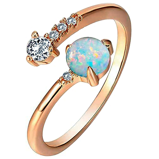 PAVOI 14K Gold Plated Adjustable CZ Opal Ring