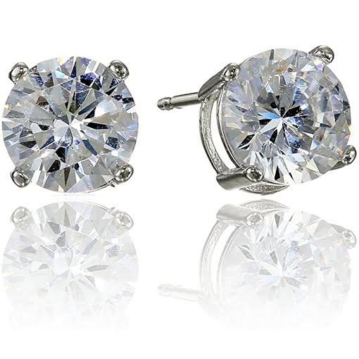 Amazon Essentials Sterling Silver CZ Stud Earrings
