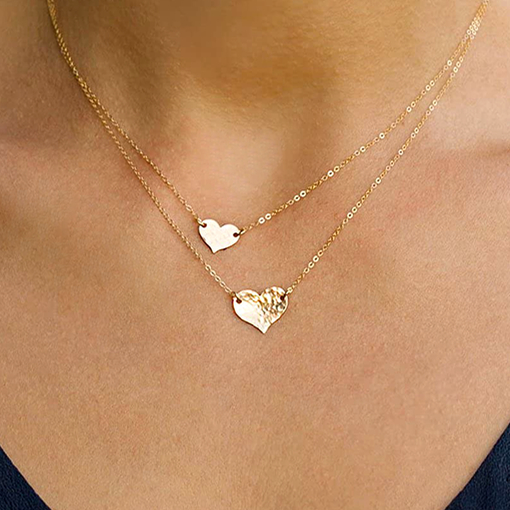 Mevecco Layered 18K Gold Plated Heart Pendant